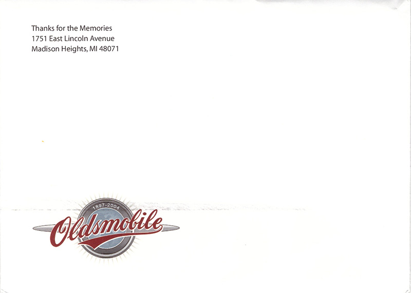 Oldsmobile Farewell Envelope Scan