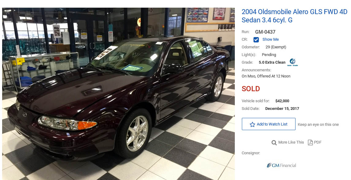 Last Oldsmobile Auction Sale Price
